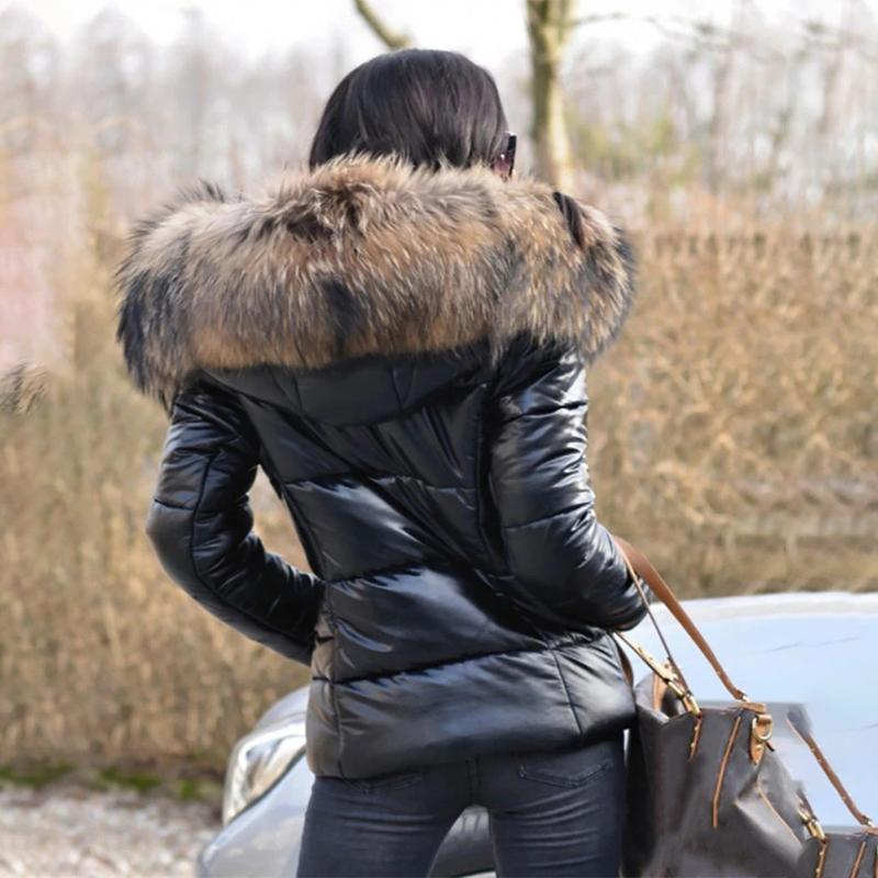 ceket ceket kış kalın pamuklu yastıklı kürk rahat İnce siyah ceket çuha 201.110 kapüşonlu fermuarlı ceket Kadın aşağı kadınlar