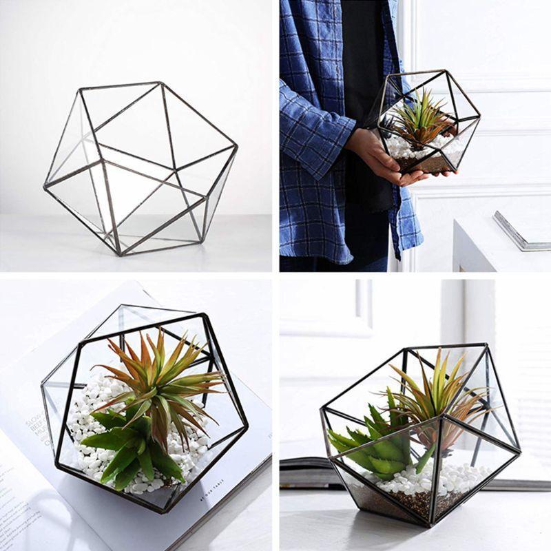 2020 Nuova scatola di immagazzinaggio in vetro contenitore di magazzino, vetro geometrico tabletop tablet pianta pianta pianta piantatore