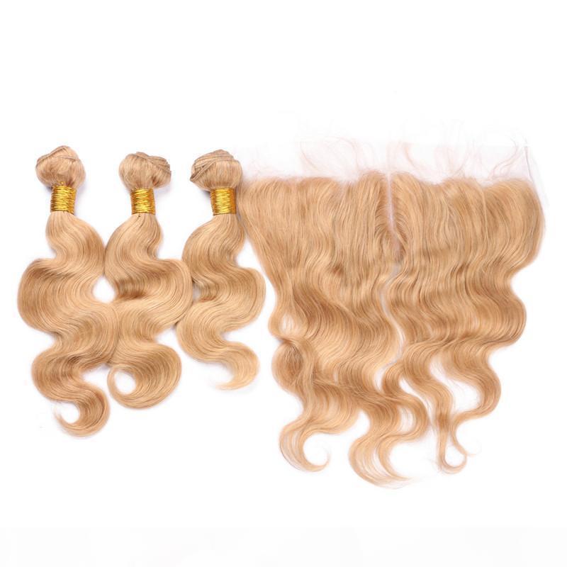Honig blonde # 27 Spitze Frontalverschluss 13x4 mit 3bundeln Virgin Brasilianische Körperwelle Erdbeer blonde menschliche Haarfüke mit Frontalverschluss
