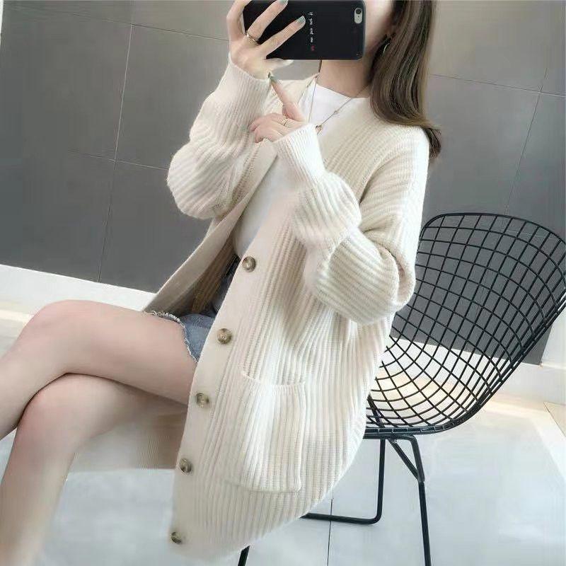 2020 Automne Nouveau lâche Cardigan en maille femme Lazy style long boutonnage simple manteau d'hiver Pull femme Vêtements