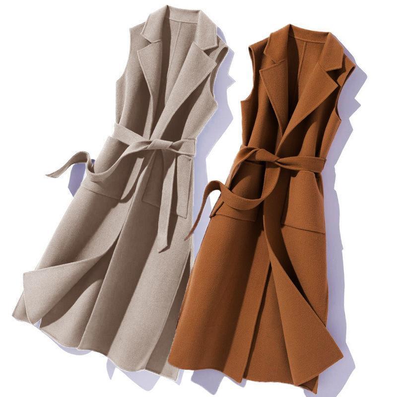 Yeni Yün 2021 Ceket Orta Kadın Kış Uzun Kolsuz Yelek Kemer Bayanlar Yelek Y206 8RK6