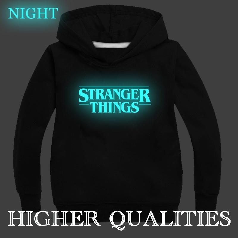Nouveau Stranger lumineux choses coton épais hoodies garçons filles enfants bambints sweatshirts vêtements enfants hiver décontracté mode haute qul 201020