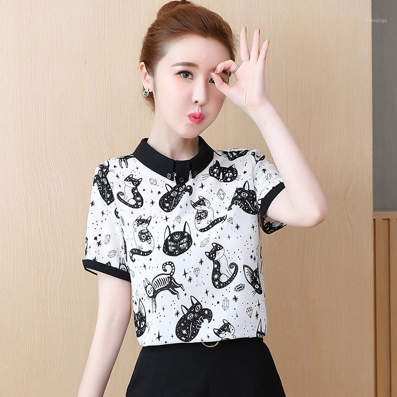 2019 Yeni Moda Yaz Kadın Bluzlar Ve Tops Şifon Kısa Kollu Standı Giyim Kediler Baskı Rahat Bayanlar Gömlek Tees Blusas1