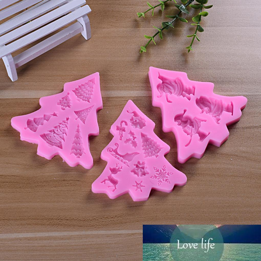 Fenkicyen arbol de navidad pastel de molde DIY Silicone Fondant Molde de chocolate Pudín Jelly Hecho a mano Navidad Decoración Molde Nuevo