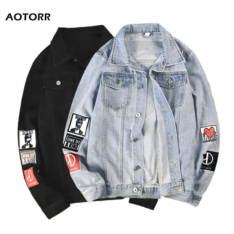 Homens denim jaqueta outono novo homem homens colarinho jean jaquetas letra impresso masculino casual rua hip hop solto denim outerwear 20118
