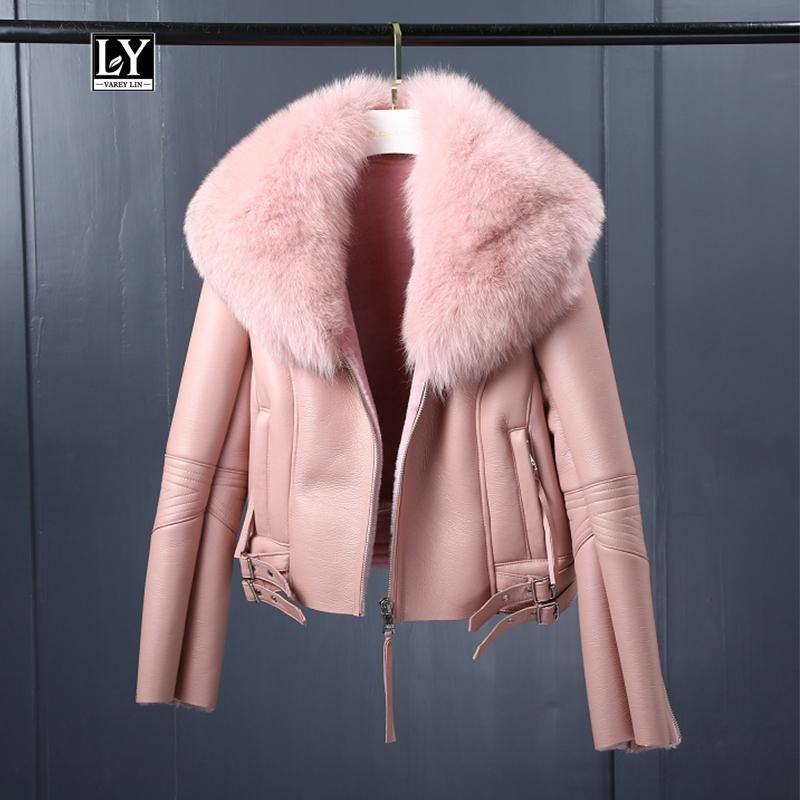 Ly Varey Lin Kadınlar Kış Sahte Sheepskin Coat Kısa Sahte Kuzular Yün Kürk Yaka Deri ceket Sıcak Kalın Kadın Fermuar Dış Giyim 201020