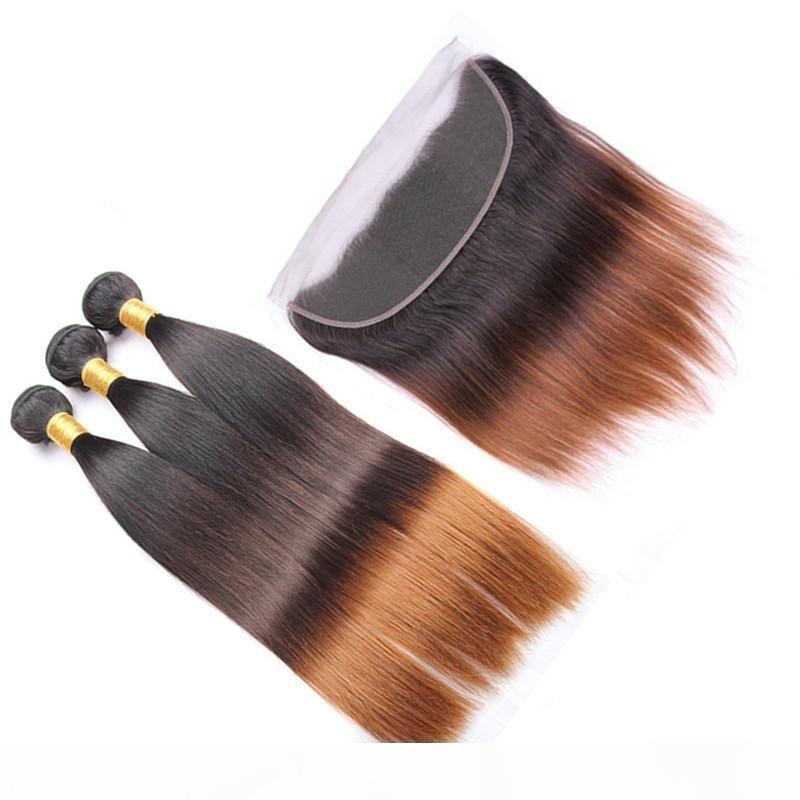 جذور الظلام # 1B 4 30 متوسط أوبورن أومبير العذراء لحمة الشعر مع أمامي مستقيم 3tone أومبير 13x4 الدانتيل أمامي إغلاق مع نسج حزم