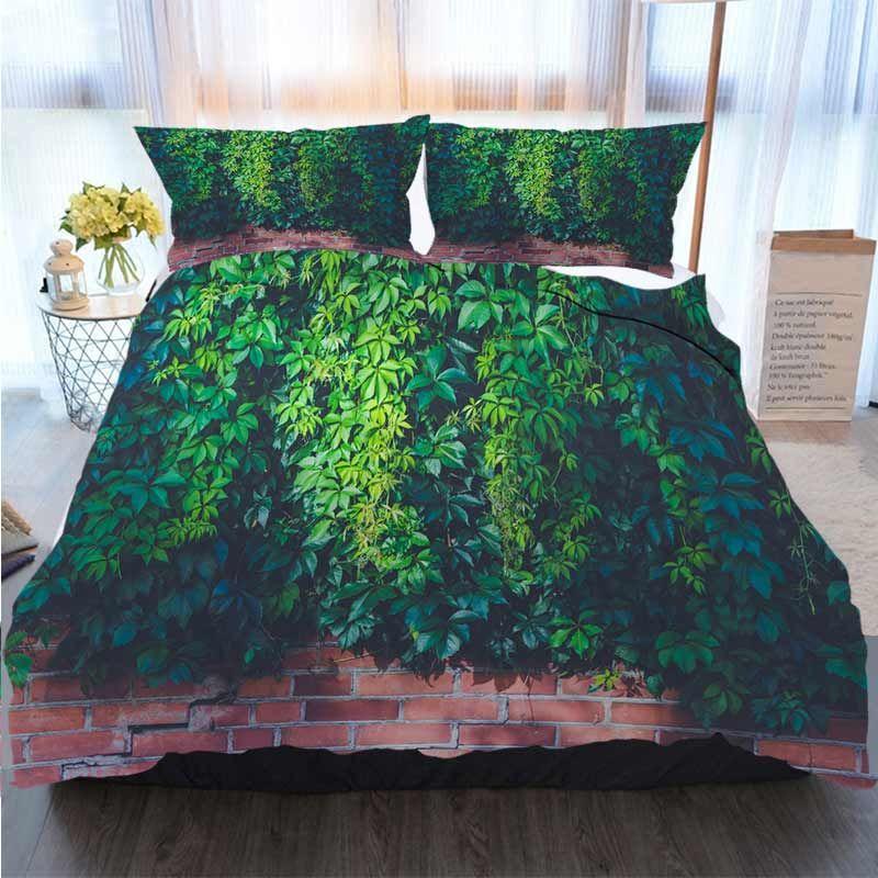Bettwäsche 3 Stück Bettbezug Sets Gras an der Wand, Grün Polyester Bettbezug Luxus Bettwäsche-Sets