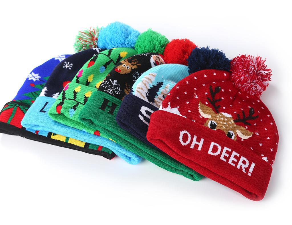 M295 عيد الميلاد النساء الاطفال حك قبعة الصوف الكرة بيني كاب LED ضوء سيدة الأطفال محبوك قبعة دافئة كاب قبعة للرأس