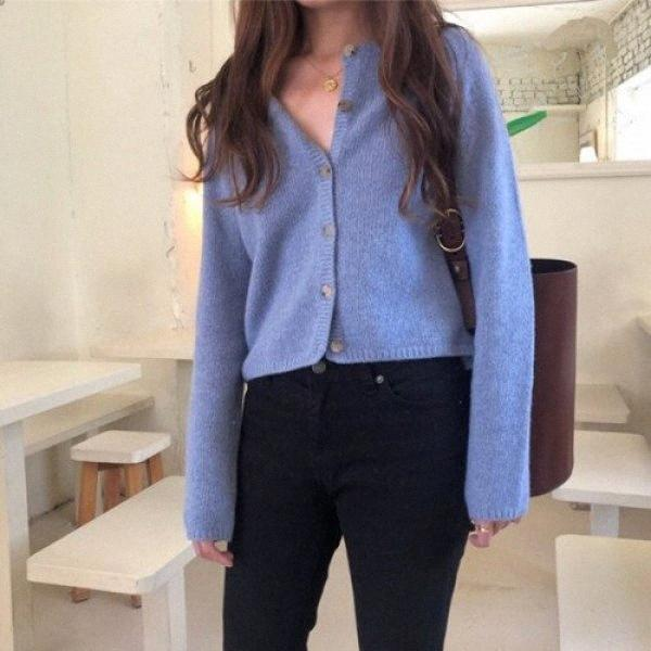 Korean Women Cardigan Long Sleeve Solid Single Breasted Elegant Sueter Mujer Loose Truien Dames Casual Sweter Damski Open Coat Llz0#