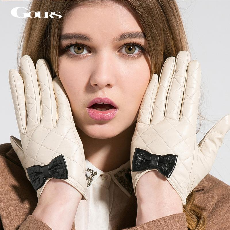 Журналы женские зимние натуральные кожаные перчатки бренд белый черный сенсорный экран перчатки женские девушки козлики лук милые варежки GSL009 201020