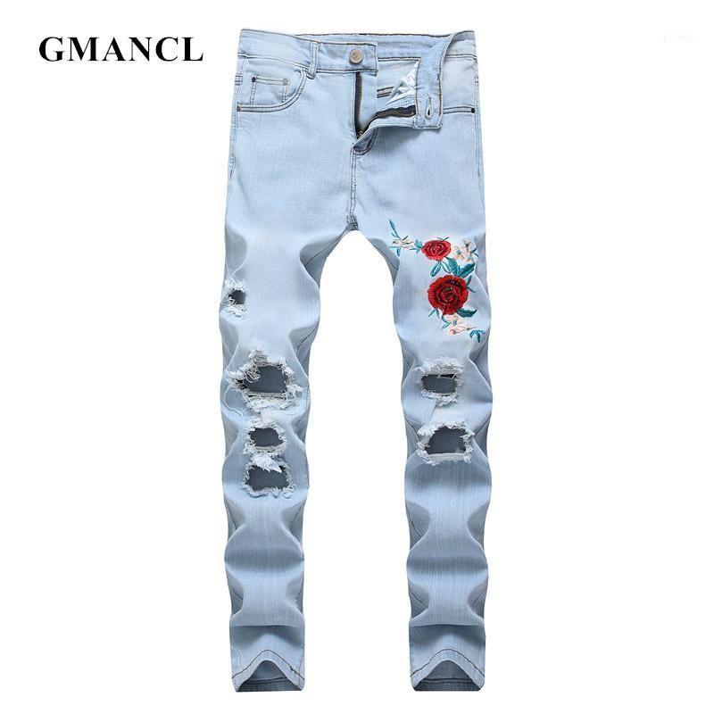 Gmancl Мужская розовая вышивка колена разорванные прямые джинсы уничтожены тощий хип-хоп отверстия уличная одежда мужские джинсы растягивающие джинсовые штаны1