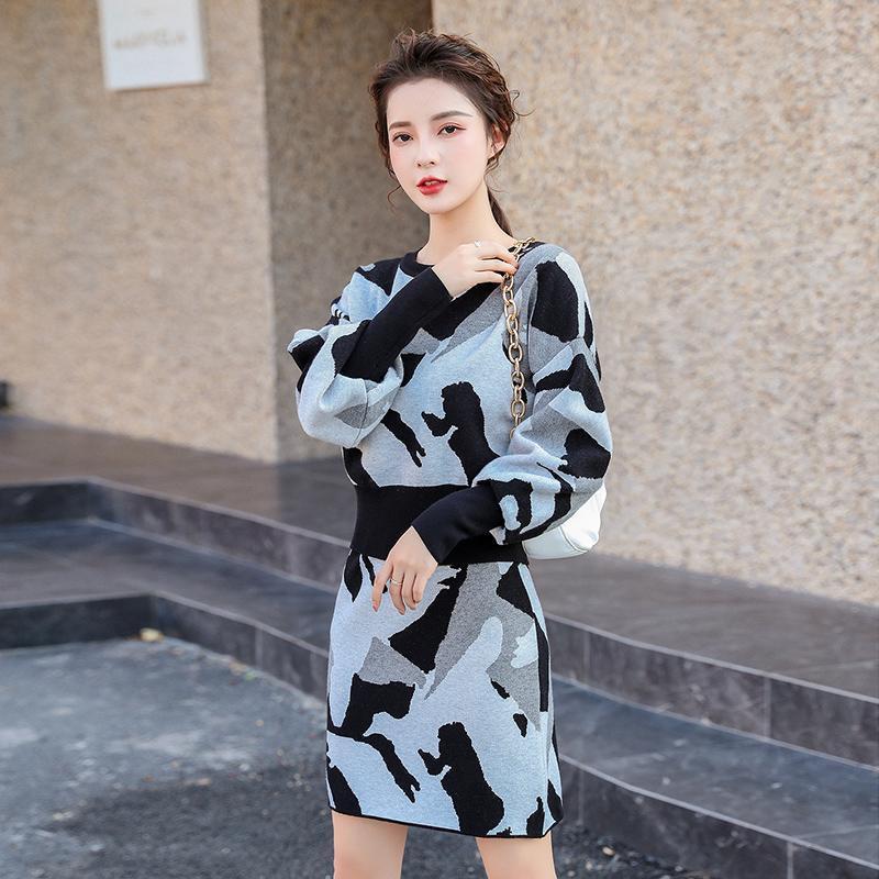 inverno malha 2 peças Set Coreia Camiseta básica Multicolor harajuku Terno bonito camisola para a roupa das mulheres