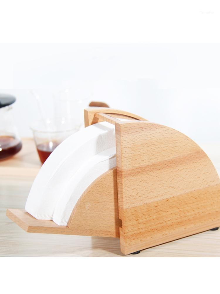 Wooden Coffee Filter Paper Holder with Cover Dispenser Rack Dust Proof Storage 67JB1