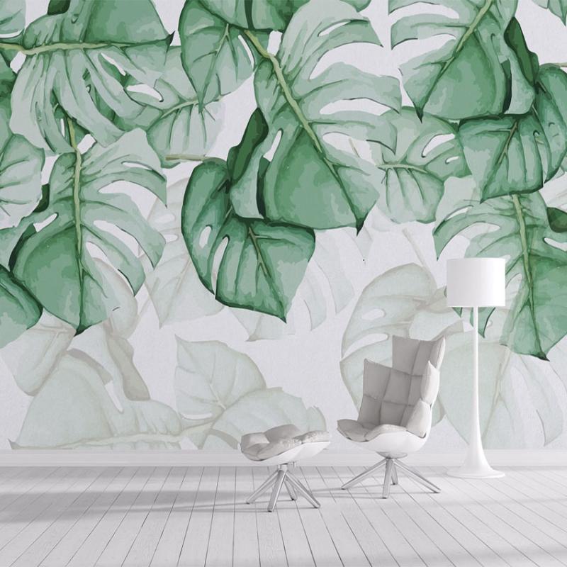 Пользовательские 3D фото обои ручная роспись зеленых листьев водонепроницаемый холст масляной живописи живущая комната спальня фон настенное искусство