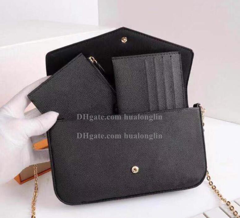 Bolso de cuero del mensajero de las mujeres del bolso original de la caja 3 en 1 de alta calidad con el número de serie de la marca desginer