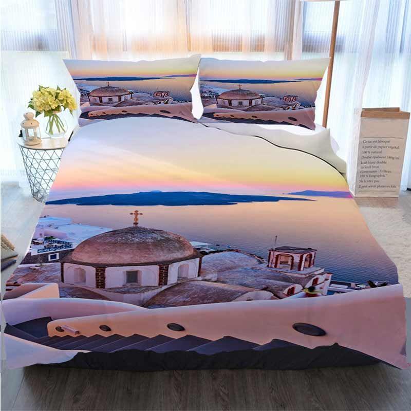 Bettwäsche 3 Stück Bettbezug Sets Ansicht von Thira-Stadt am Sonnenuntergang Duvet Cover Designer Bed Comforters Sets