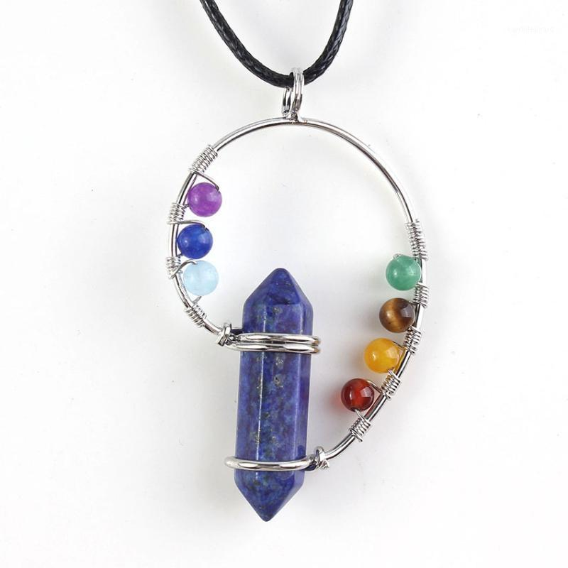 Silver Plated Wire with 7 Colors Small Beads Hexagon Column Pendant Lapis Lazuli Necklace Healing Chakra Jewelry1