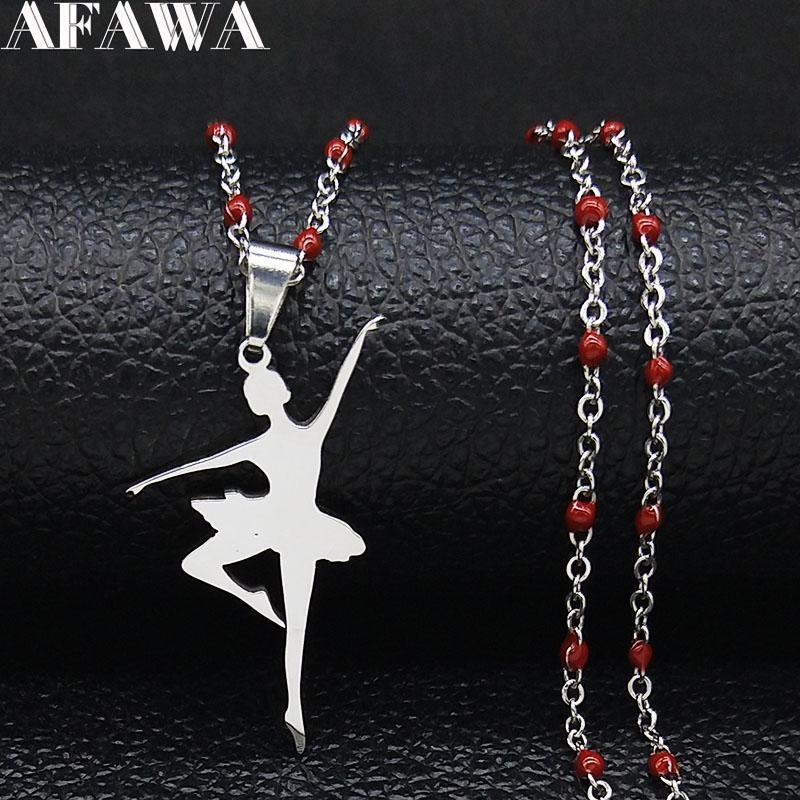 Pendentif Colliers Ballet En Acier Inoxydable Déclaration Collier Femmes Silver Couleur Dancer Bijoux Bijoux Cadeau de Noël Collaires Mujer N1979
