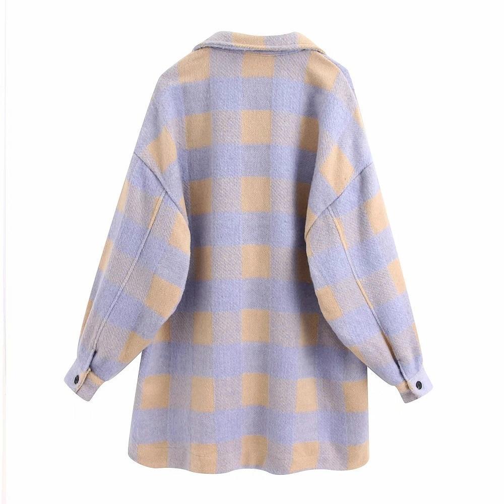 Ladies Vintage Overshirts Oversized Plaid Women Coat Long Sleeve Loose Woolen Jacket Female Coats Outerwear Chic Tops