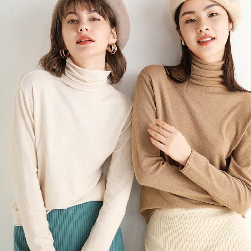 2020 Herbst Neue Strickpullover Frauen Haufen Haufen Kragen Pullover Frauen Curling Turtheneck Unterseite Hemd Koreanische Pullover Frauen1