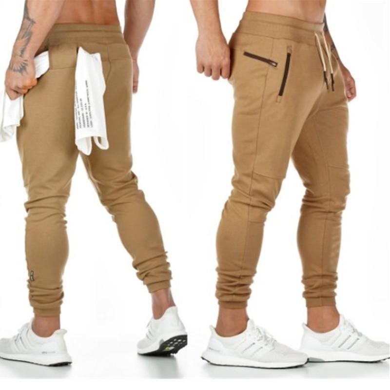 Otoño Nuevos gimnasios Pantalones para hombre Joggers Pantalones de sudor delgado Bordado Pantalones de bordado Sweetpants para hombres con cremallera lateral Pantalones Pantalones Pantalones Pantalones Y200114
