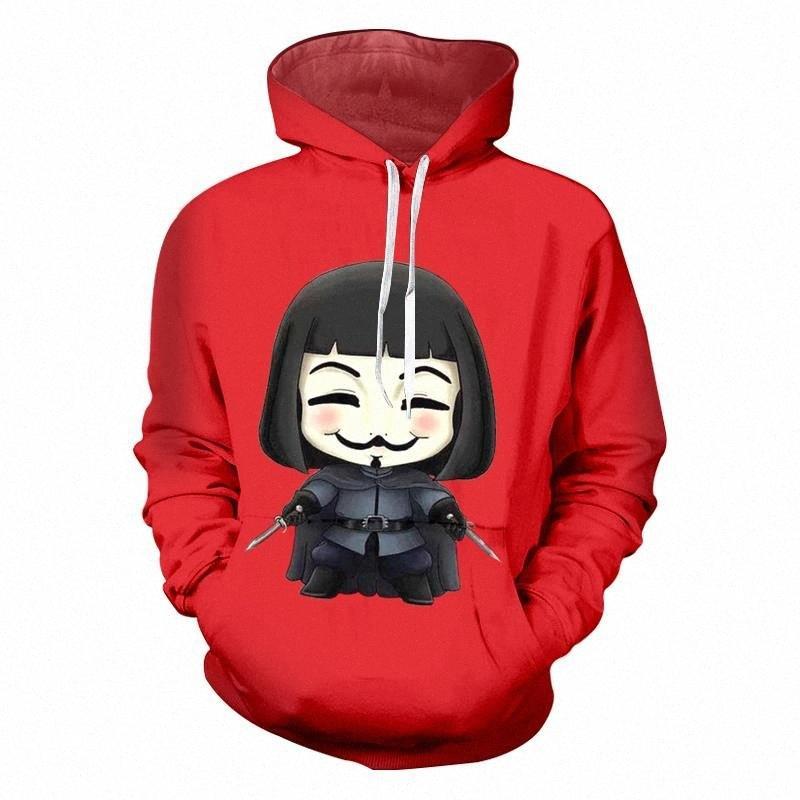 Мультфильм Толстовка Красного 2018 Нового прибытие Vendetta маска Печатные 3d пиджаки Повседневного Полного Рукав Потливость Куртка Dropship 5XL gdgT #