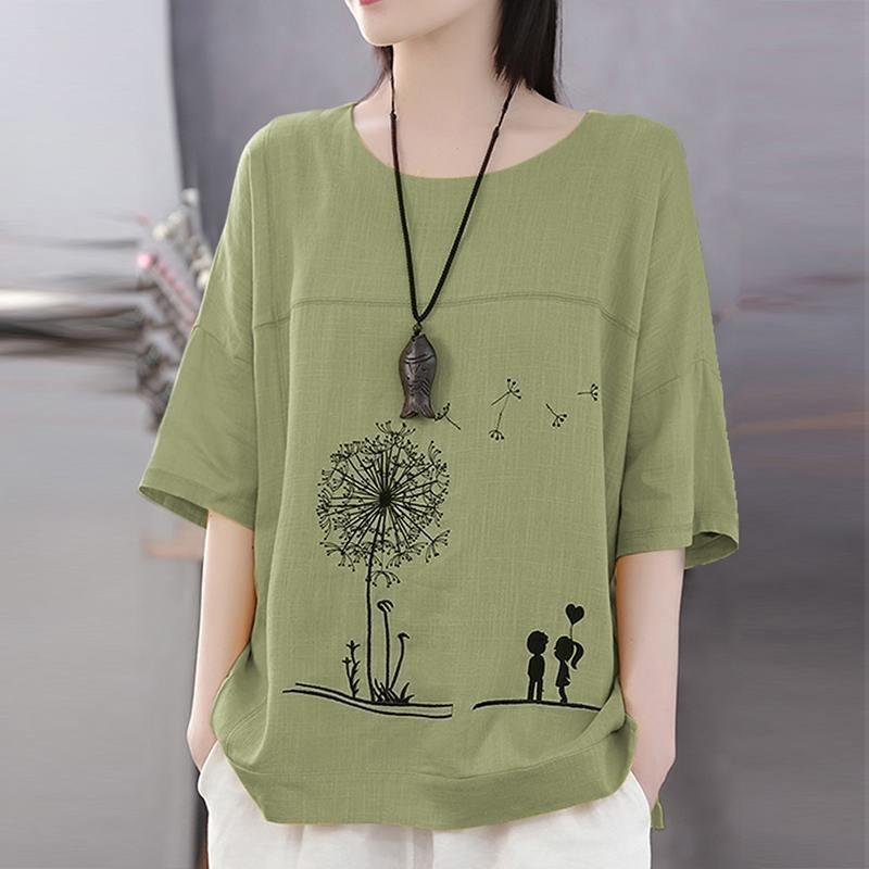 Women Cotton Linen Shirt Autumn Cartoon Printed Blouse Female O Neck 3/4 Sleeve Tunic Tops Chemise Loose Casual Blusas Mujer T200320