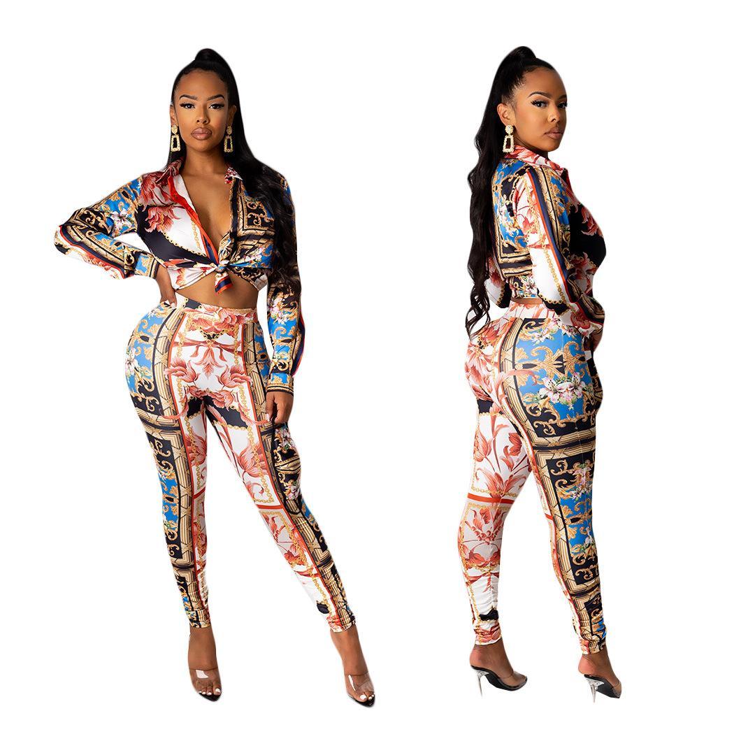 Renkli Kravat-Boya İki Parçalı kadın Düğmeli Uzun kollu Üst ve Moda Trendy Casual Suits ile Pantolon Yeni Bahar 2021