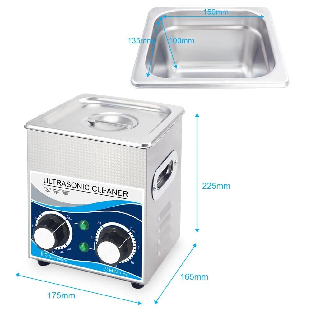 FreeShipping Portatif Ultrasonik Mücevher Temizleyici 2L 120W Temizleme Makinesi Banyosu ile Isıtıcı Zamanlayıcı Temizleme Takı Gözlük Diş