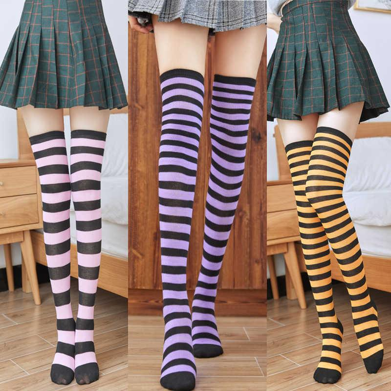 Womens coxa altos meia multi cor listrado algodão estilo knee knee meias menina cosplay moda ao ar livre alta moda 3 5zz l2