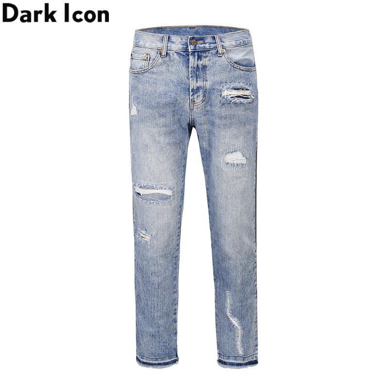 Calças de ganga dos homens da forma do escuro Tamanho Zipper Jeans Homens New High Street