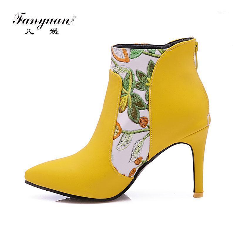 Botas fanyuan mujeres altas tacón tacón flor puntiagudo punteado toe stiletto corto cremallera hembra calzado blanco amarillo zapatos de invierno1