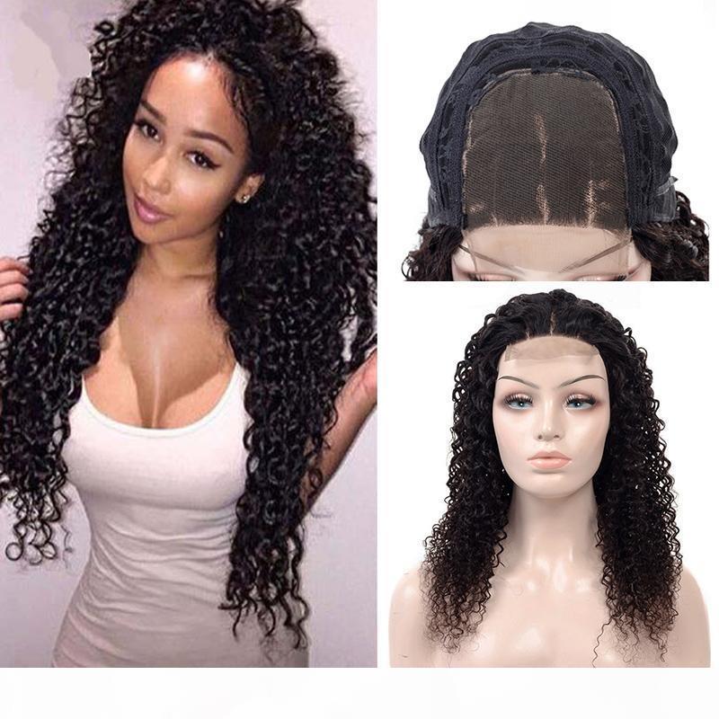 Человеческие волосы парики кружева фронт бразильские kinky вьющиеся волосы 4x4 закрытие кружева парик Remy девственные волосы 180% плотность парики для чернокожих женщин