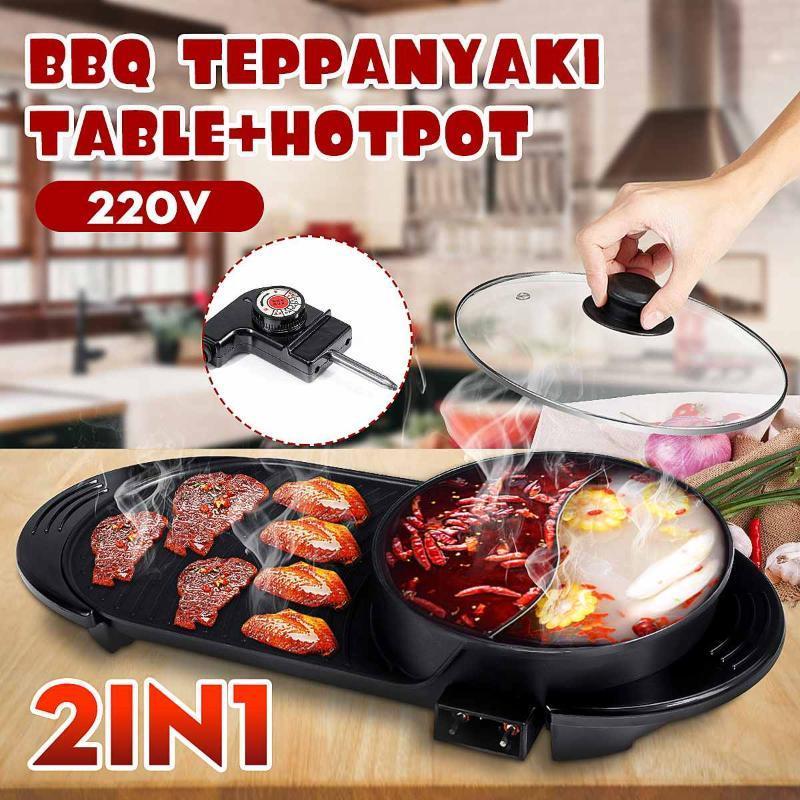 2 em 1 multicookers elétrico hot pote churrasco churrasco teppanyaki cozinhar panela interior churrasco forno sem fumaça não-stick churrasco
