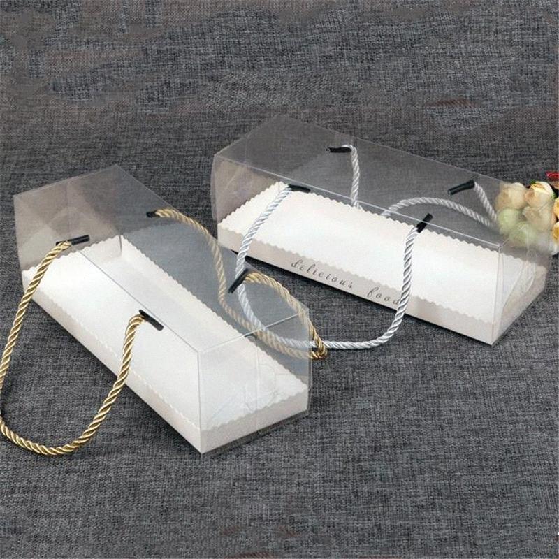 PET Clear torta di cottura scatola rettangolare portatile dessert biscotto torta scatole scatole trasparenti mousse e forniture di imballaggio partito e08O #