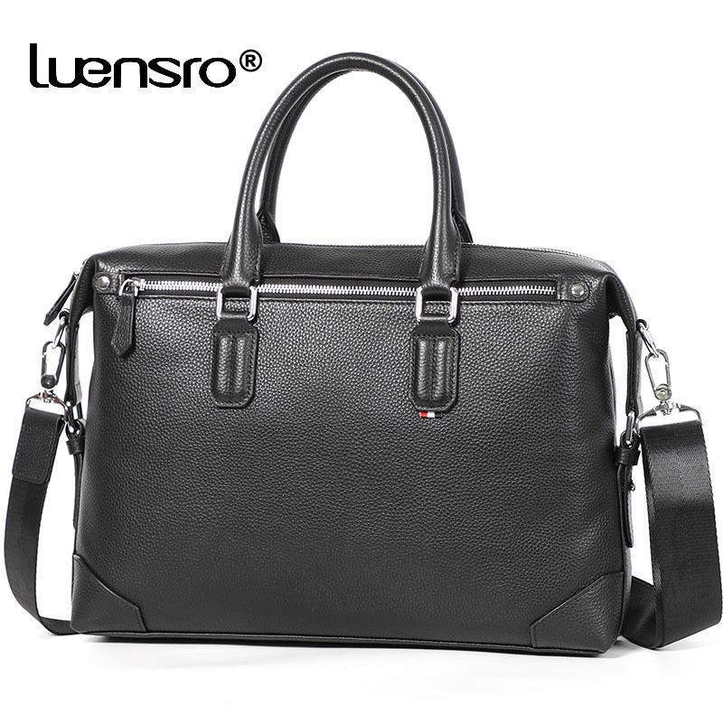 Porte-documents en cuir de vachette 100% véritable pour hommes sac à épaule de mode sac d'ordinateur portable grande capacité sacs de voyage décontractés hommes sacs à main lj201012