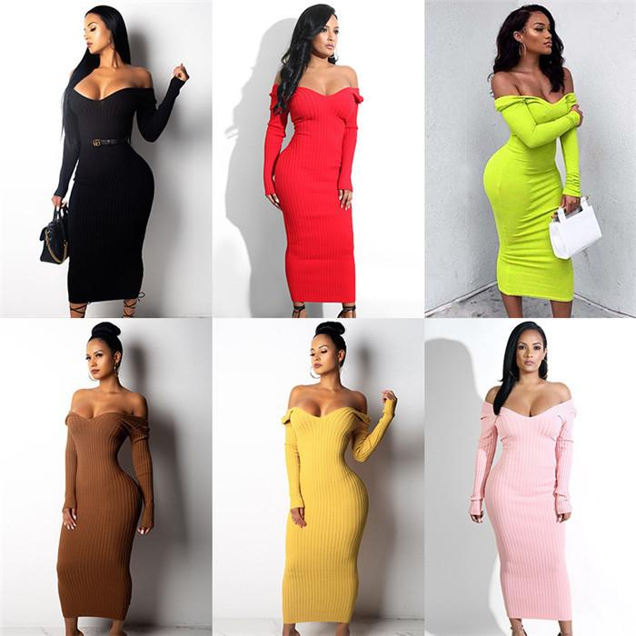 Solid Color Frauen strickt Kleider Sexy V-Ausschnitt mit hohen Taille Langarm-Bleistift-Kleider Herbst beiläufige Art und Weise Frauen Bodycon Kleidung