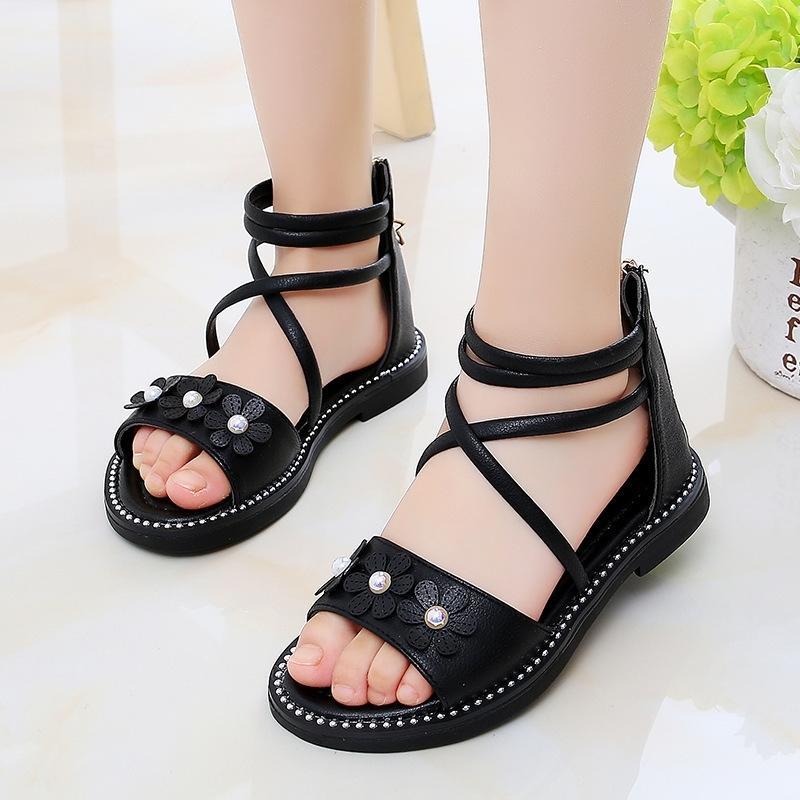 Niños niñas zapato de verano niñas niñas sandalias cuero grandes niños flores princesa playa sandalias 3 4 5 6 7 8 9 10 11 12 años T200428