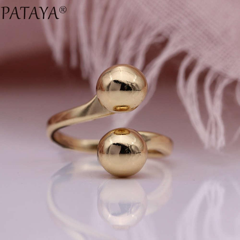 Apri Double Ball 585 Rose Gold Semplice Anello Femminile Unico gioielli da partito giornaliero