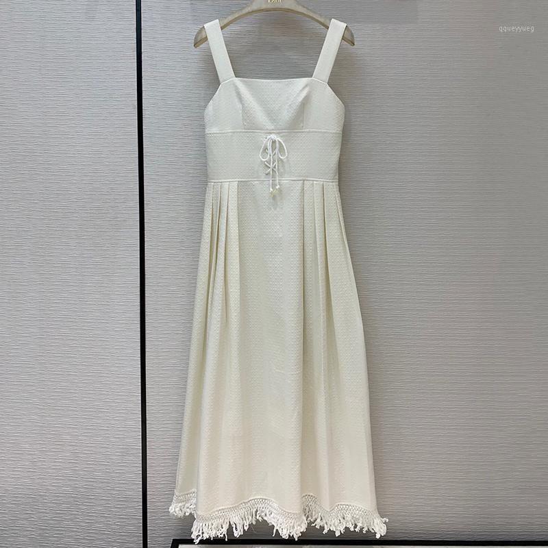 White Long Dress Spring Sexy Spaghetti Strap Brand Dress 2020 Fashion Tassel Female1
