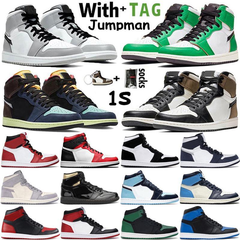 2021 Yüksek Jumpman 1 1 S Erkek Basketbol Ayakkabı Şanslı Yeşil Işık Duman Gri Tokyo Hack UNC Obsidiyen Chicago Retros Sneaker Eğitmenler Boyutu 36-47