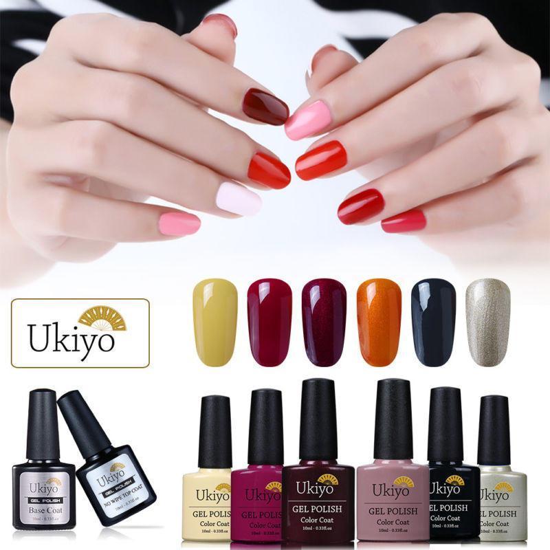 Ukiyo 8 pcs/set 10ml UV Gel Nail Polish and No Wipe Top Coat Base Coat Gel Polish Set Soak Off Hybrid Varnish Manicure Kit