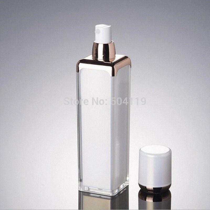 50 ml de pérolas branco / ouro forma quadrada garrafa sem ar acrílico para soro / loção / emulsão / fundação / cosmético líquido embalagem hDyz #