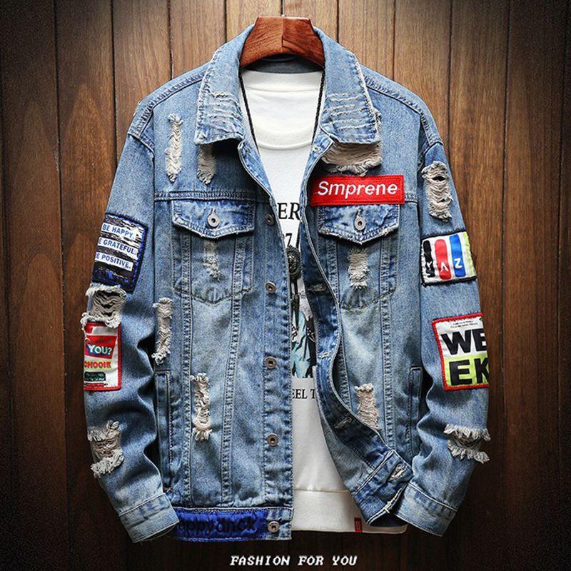 2019 Yeni Erkek Ceketler Ve Mont Delikler Yama Denim Mont Streetwear Erkekler Bahar Sonbahar Rahat Jean Ceketler Dış Giyim Denim Ceketler T200117