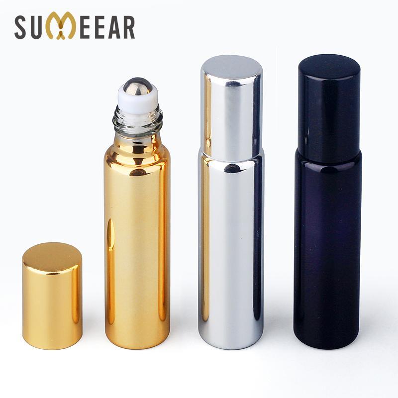 50 piezas 10 ml Botellas de aceite de perfume Botella de perfume de vidrio UV recargable con rollo en la vial de aceite esencial vacío Botellas de rodillos de acero