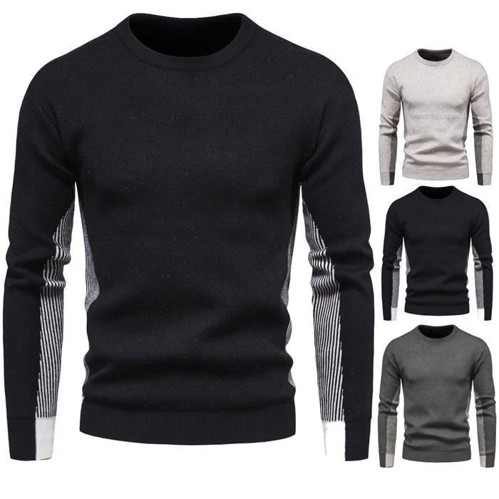 Kontrast Farbe Männer Pullover O Neck Pullover lange Hülsen-dünne Knits Herbst Mode Herren Designer Sweater