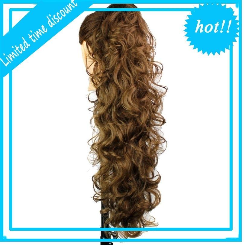 Pisos de lujo 76cm 210g Fibra de alta temperatura de alta temperatura de alta temperatura Piezas de pelo sintético Clip de garra Comienzo para mujeres