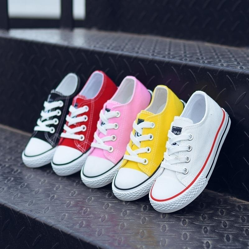 Kids for Girl Canvas Boys Sneakers Spring Autumn Girls White Short Solid Fashion Children Shoes 201202