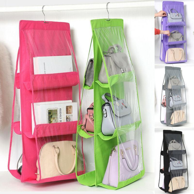 Transparente cm Vlies-Taschen-Hänge-Organize-Tasche 6 Taschengewebe 90x35 doppelseitiger hängender Schrank faltbar für den Speicher USWOC